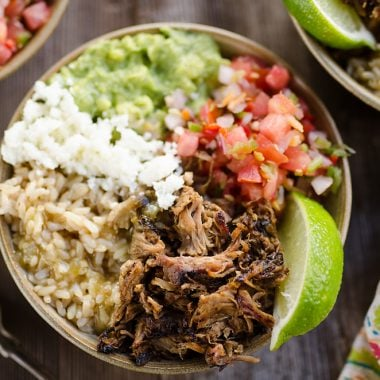 Easy Pork Carnitas Rice Bowls overhead picture