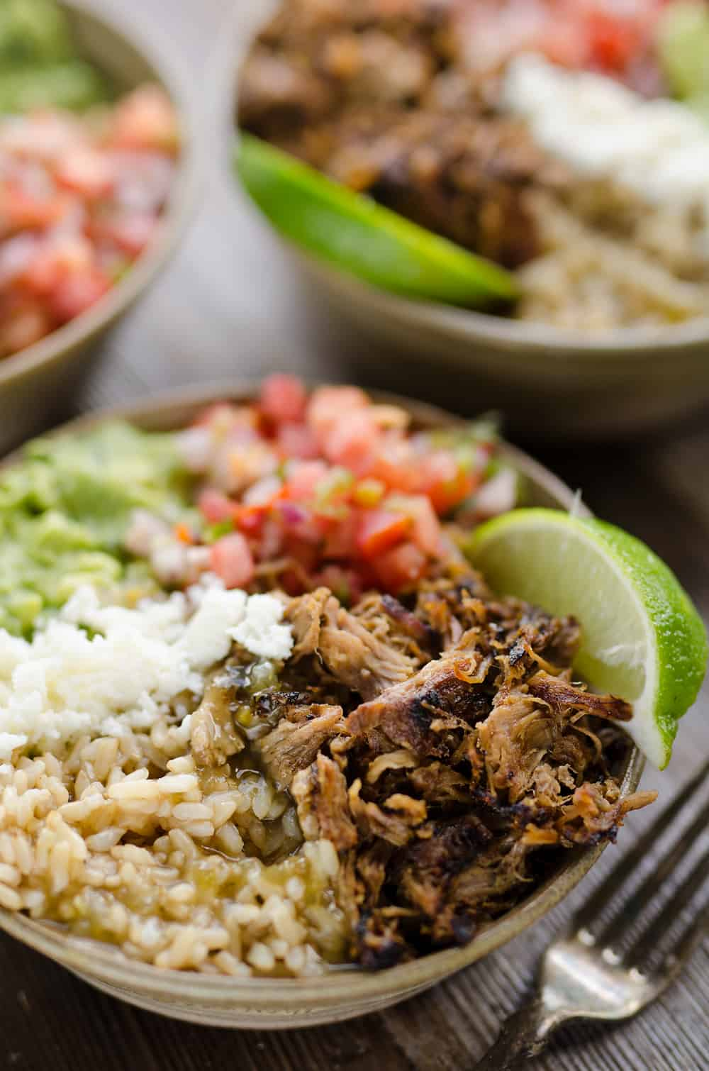 Easy Pork Carnitas Rice Bowls 3 servings