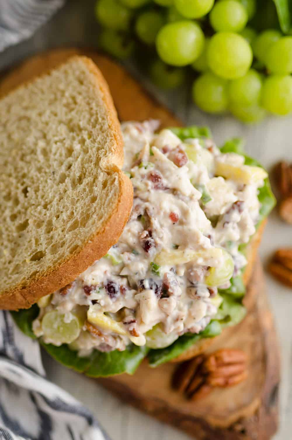 Fruit & Pecan Chicken Salad piled on slices of bread