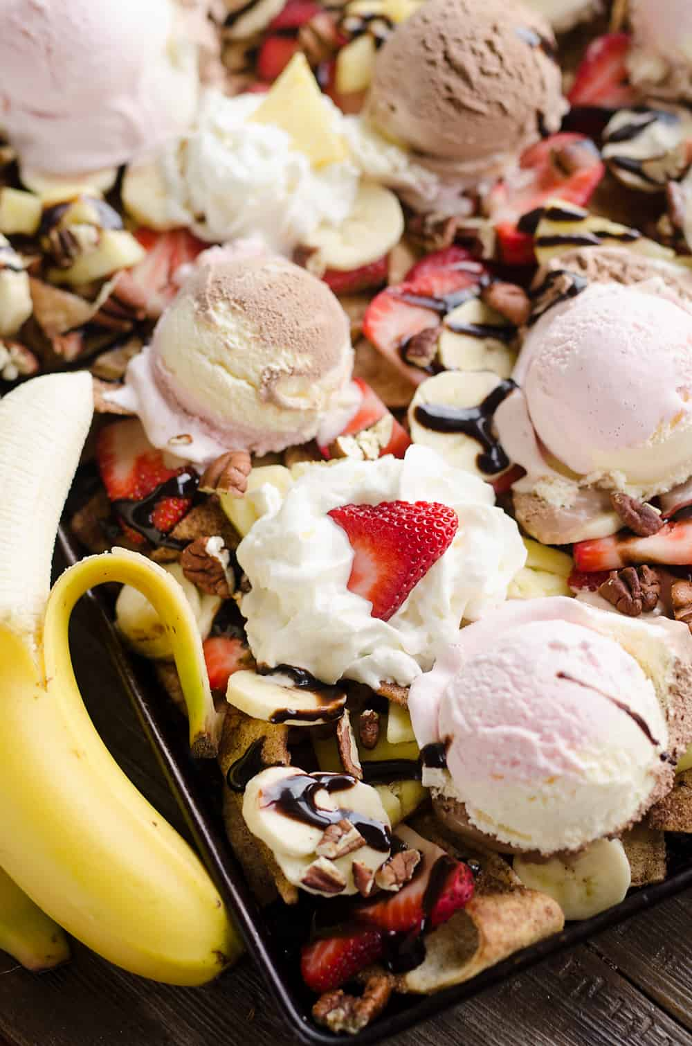 Ultimate Banana Split Dessert Nachos sheet pan