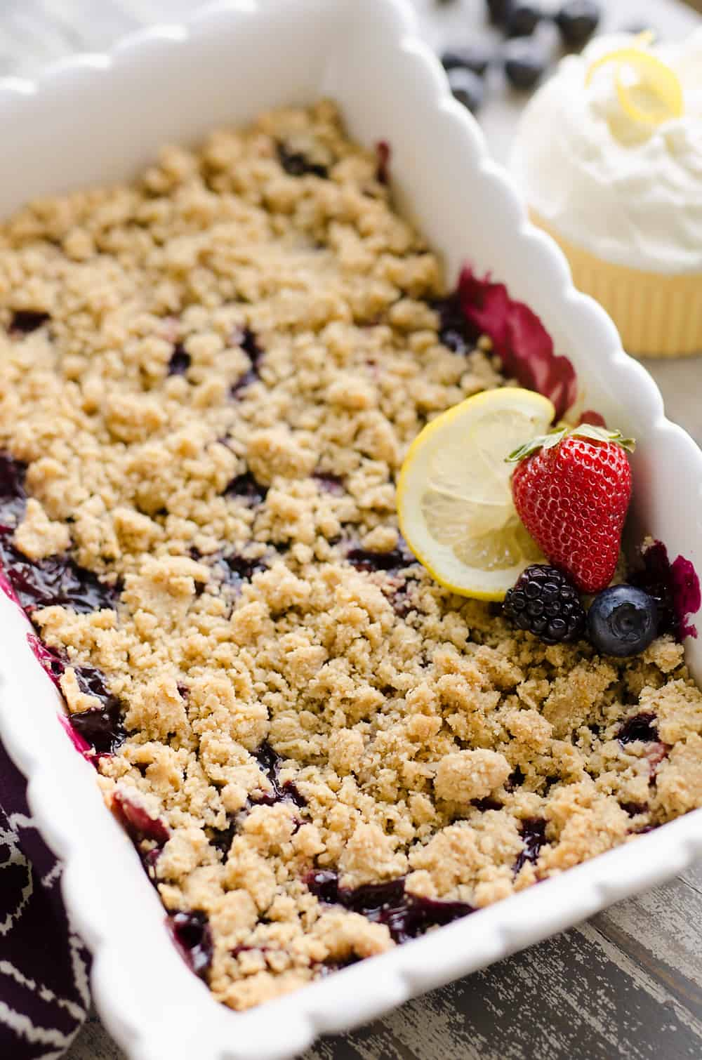 Lemon Berry Crisp in pan