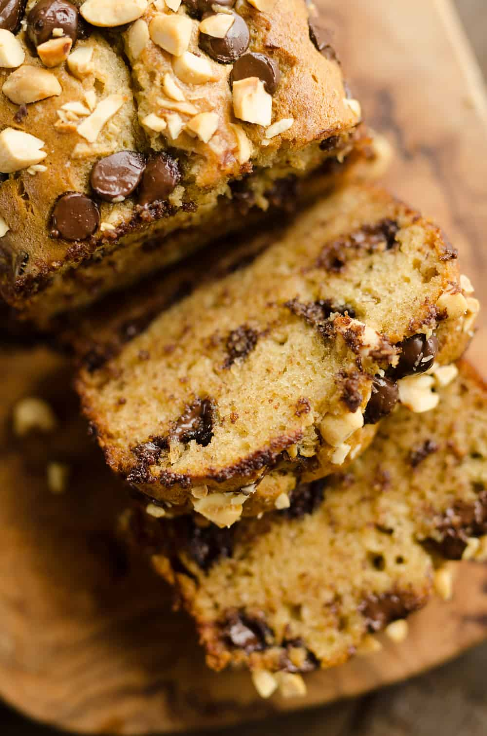 Peanut Butter Chocolate Banana Bread slice with melted chocolate