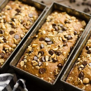 Peanut Butter Chocolate Banana Bread 3 loaf pans