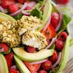 Pistachio Crusted Goat Cheese Berry Salad served