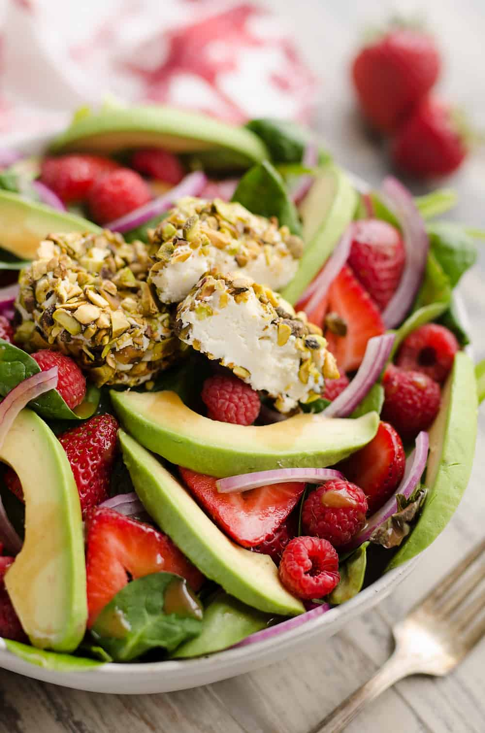 Pistachio Crusted Goat Cheese Berry Salad serving