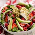 Pistachio Crusted Goat Cheese Berry Salad in large bowl