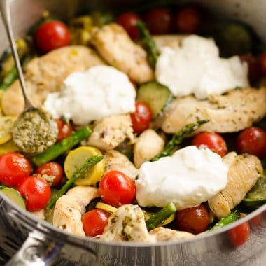 Summer Pesto Chicken & Vegetable Skillet served
