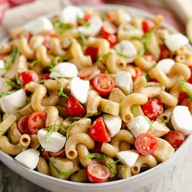 Balsamic Caprese Pasta Salad serving
