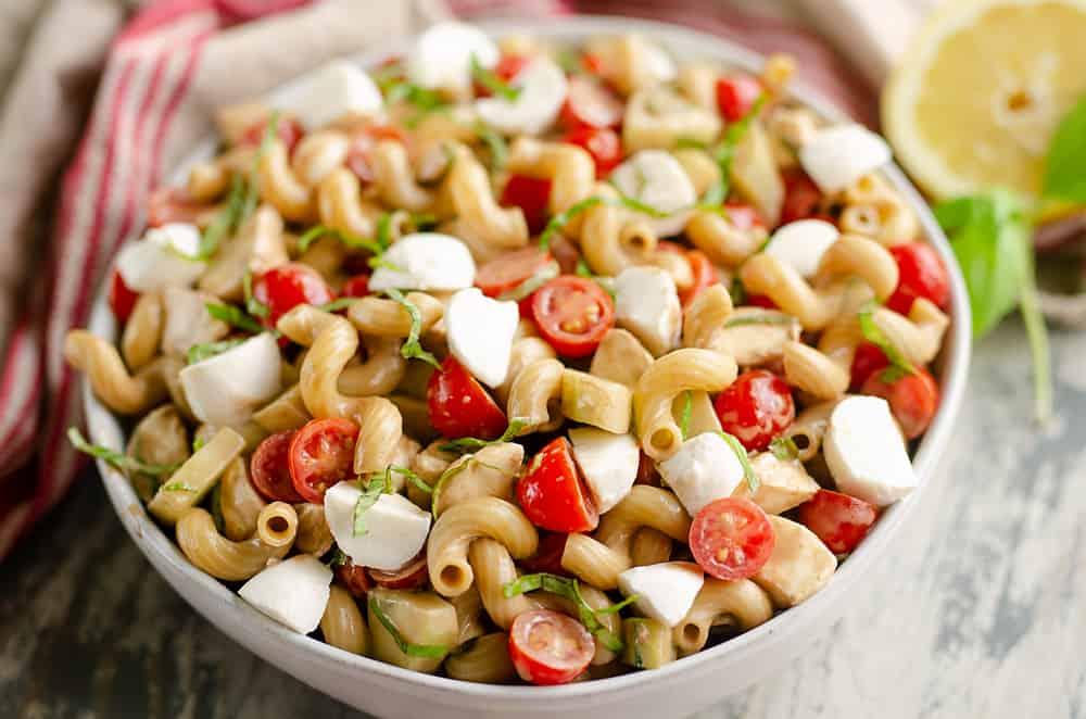 Balsamic Caprese Pasta Salad serving