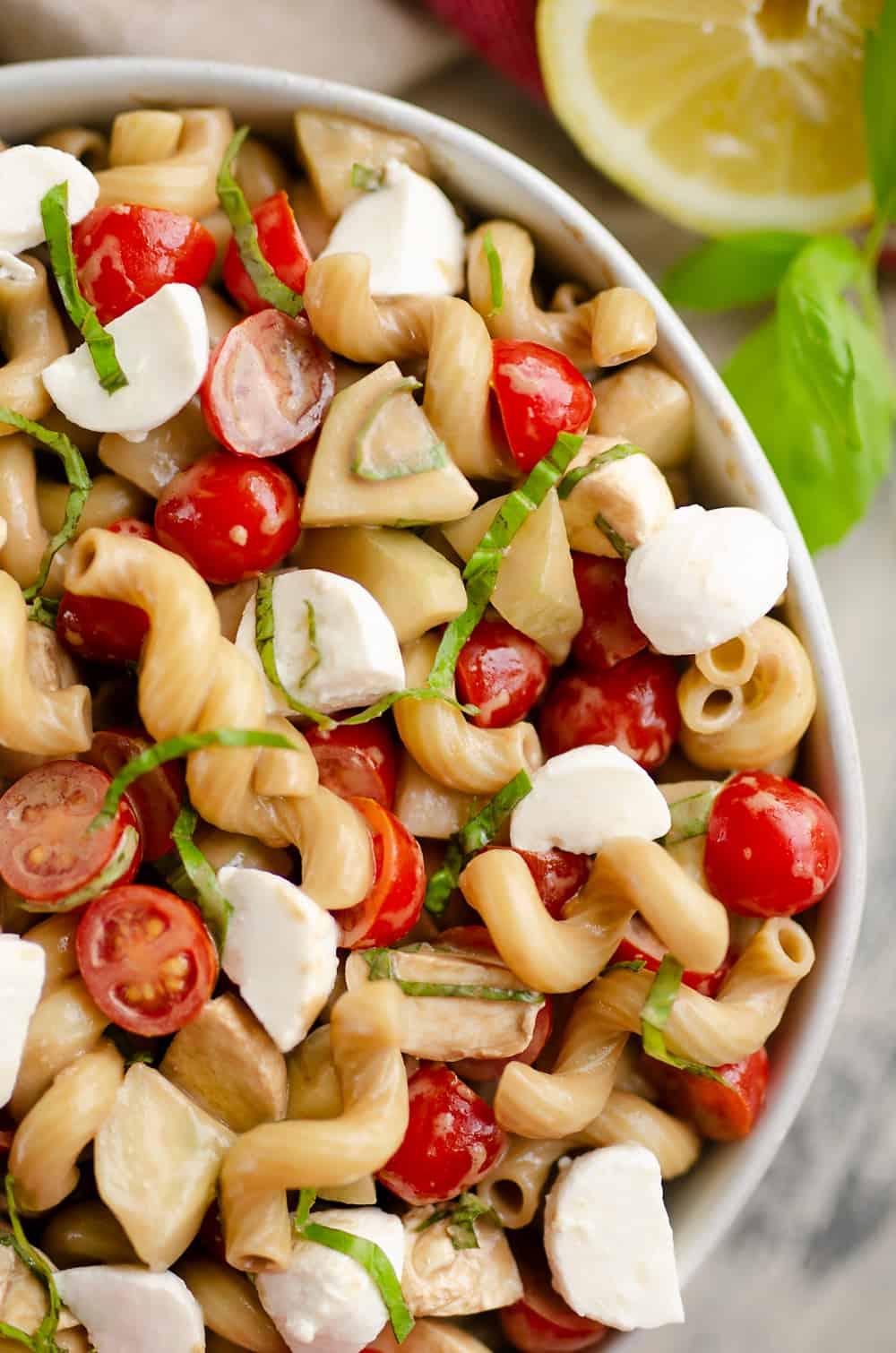 Balsamic Caprese Pasta Salad closeup