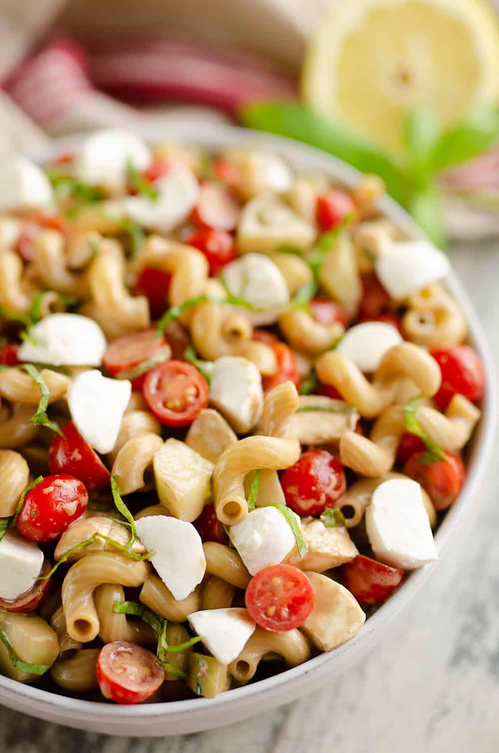 Balsamic Caprese Pasta Salad in large bowl