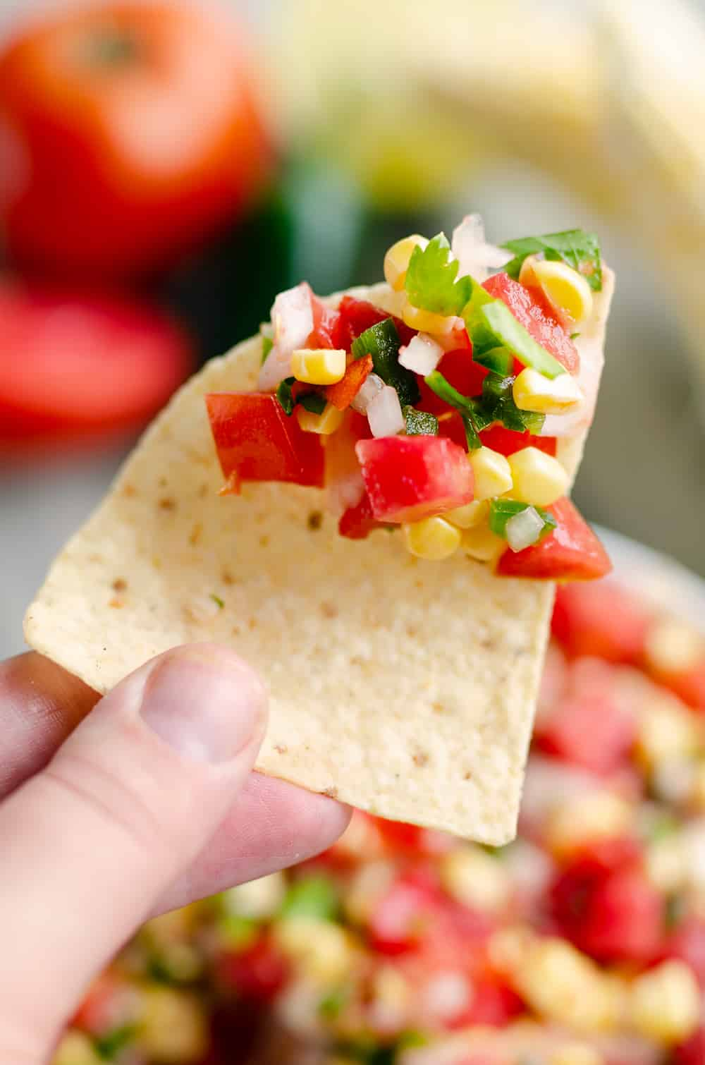 Garden Fresh Sweet Corn Salsa on a corn tortilla chip