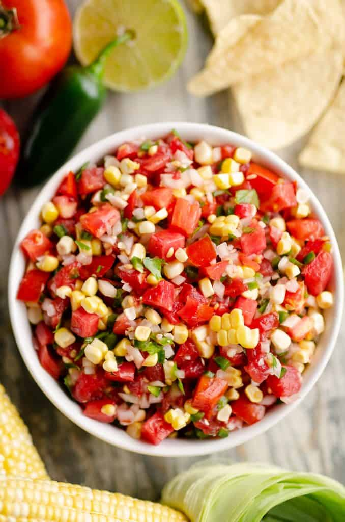 Garden Fresh Sweet Corn Salsa served in bowl