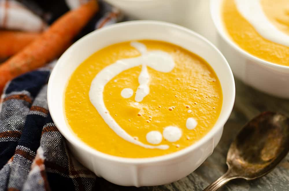 Pressure Cooker Creamy Carrot Soup serving bowl
