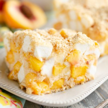 Marshmallow Peach Icebox Dessert slice of sweet