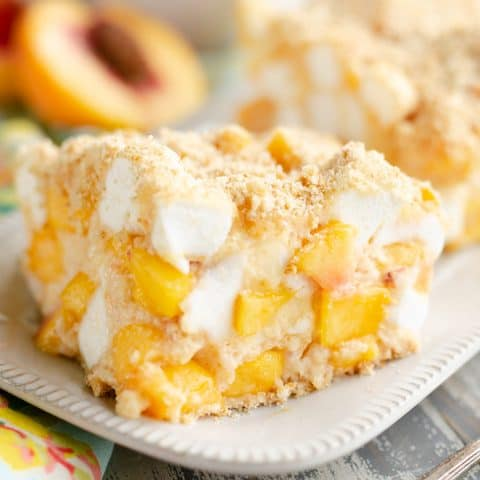 Marshmallow Peach Icebox Dessert slice of sweet