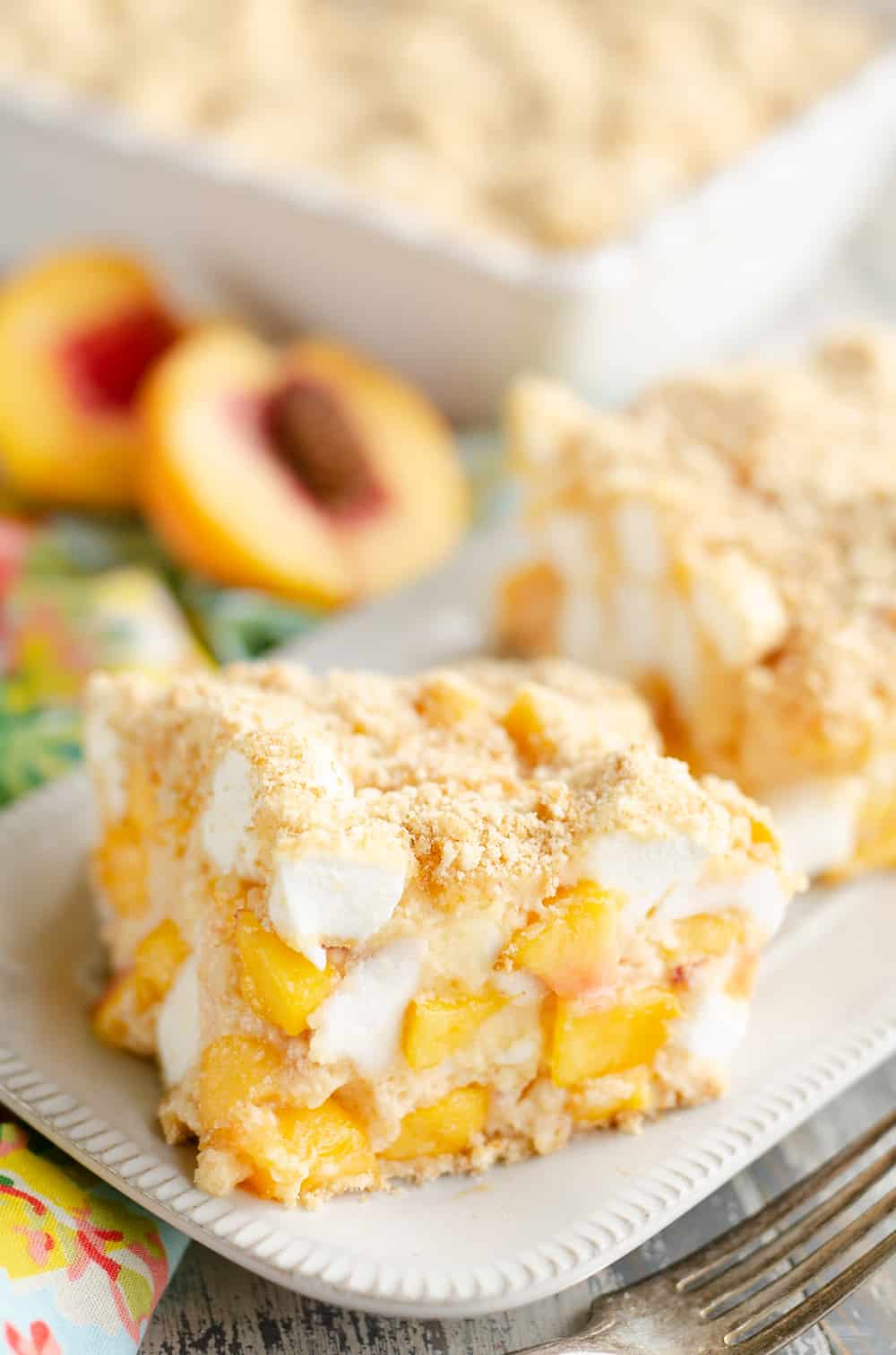 Marshmallow Peach Icebox Dessert piece of dessert