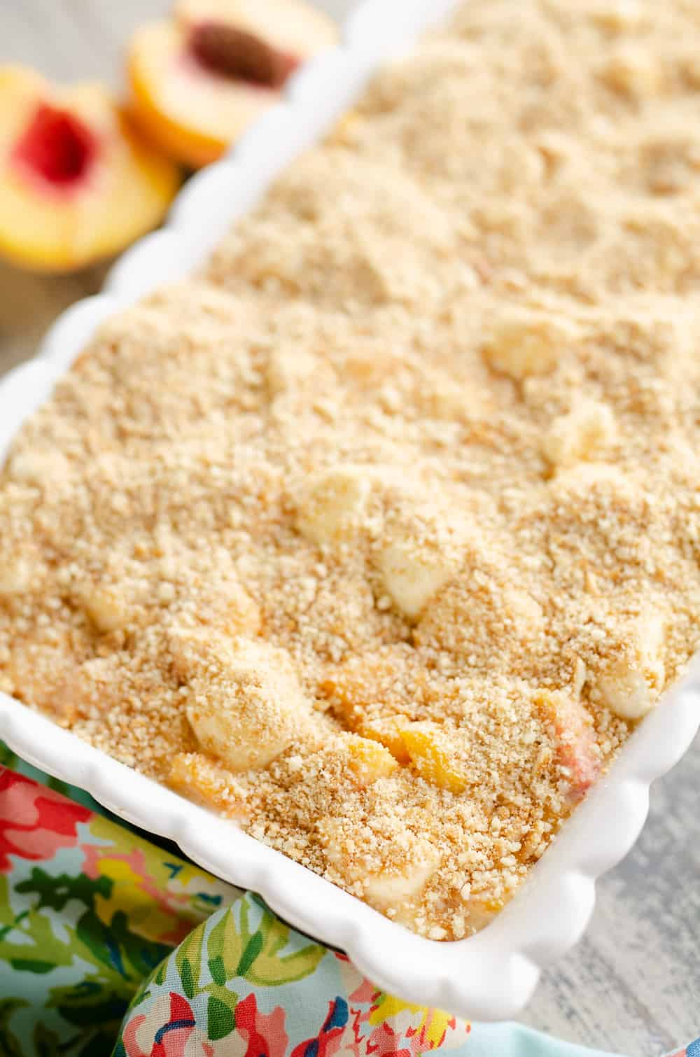 Marshmallow Peach Icebox Dessert in serving pan