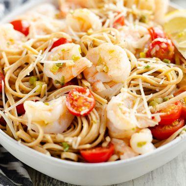 Parmesan Lemon Shrimp Linguine serving 4