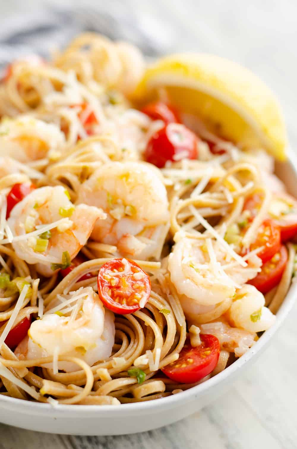 Parmesan Lemon Shrimp Linguine in serving bowl