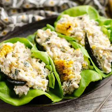Roasted Poblano & Sweet Corn Chicken Salad served
