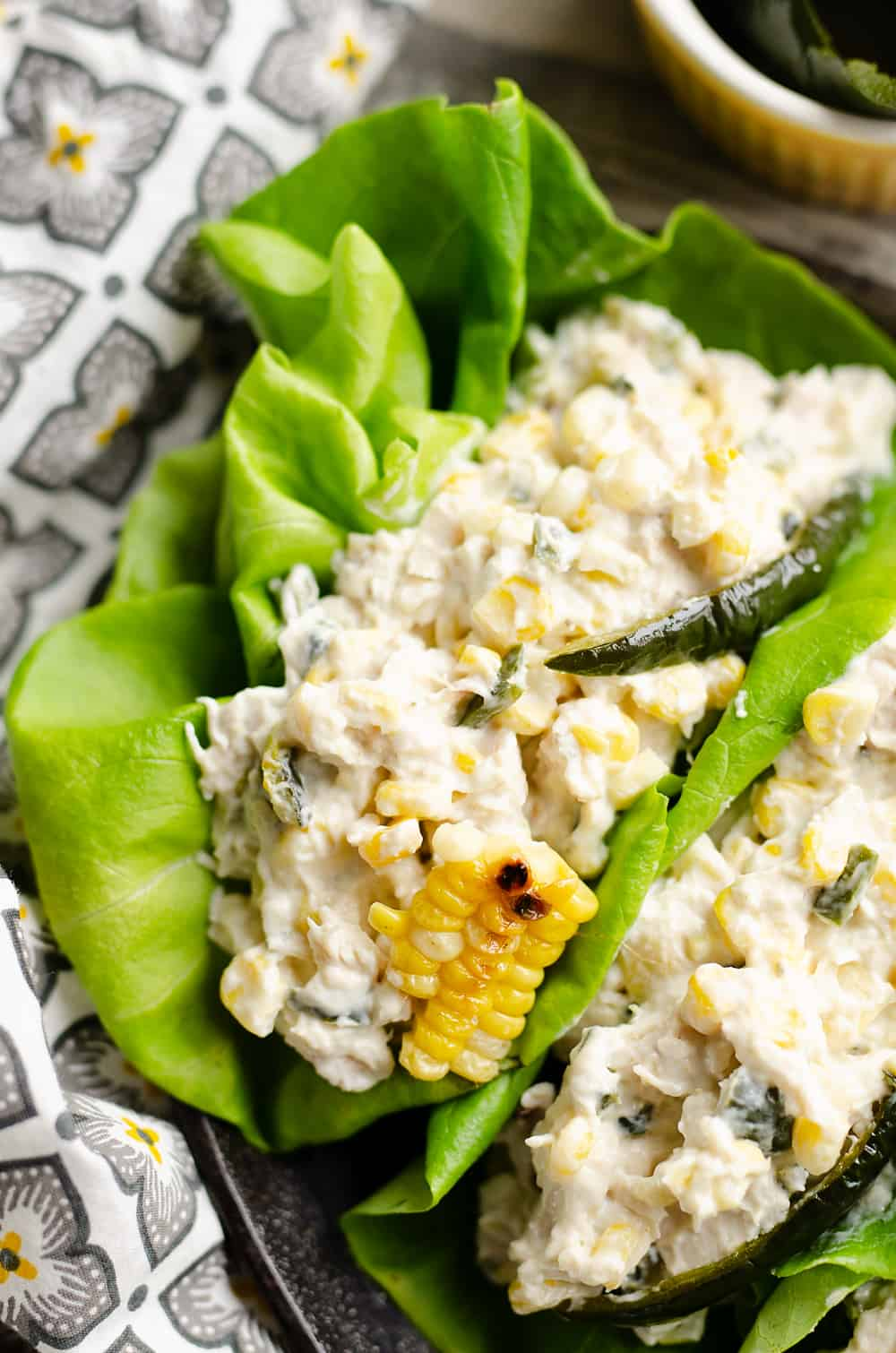 Roasted Poblano & Sweet Corn Chicken Salad lettuce wraps