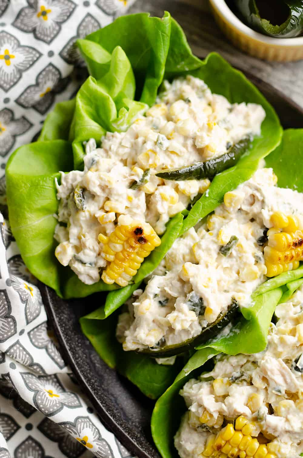 Roasted Poblano & Sweet Corn Chicken Salad served on skillet