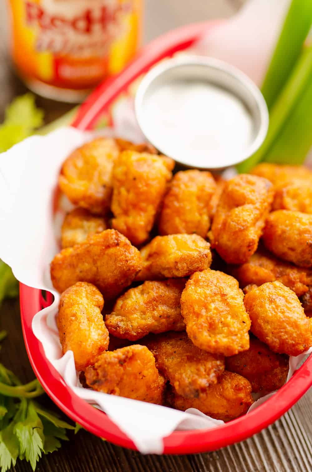 Airfryer Buffalo Cauliflower Tots appetizer basket