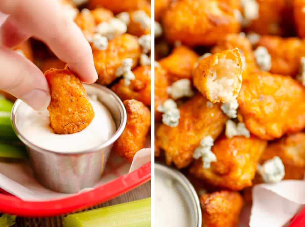 Airfryer Buffalo Cauliflower Tots dipping in ranch sauce