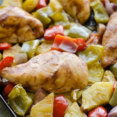 Hawaiian BBQ Chicken Sheet Pan Dinner on baking sheet