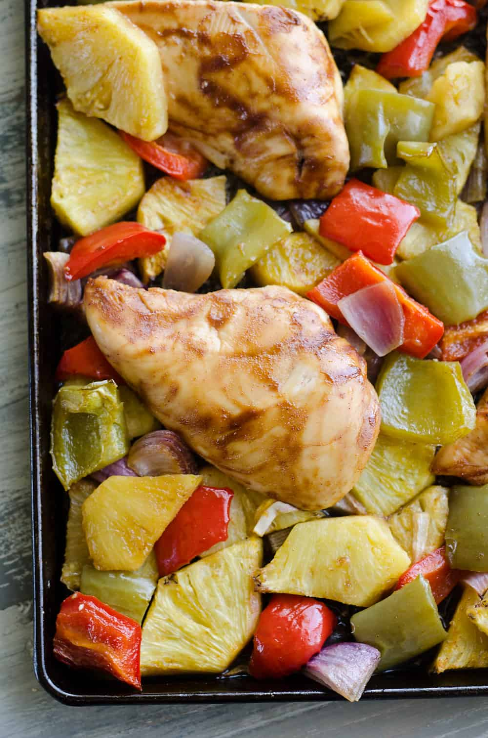 Hawaiian BBQ Chicken Sheet Pan Dinner baked on pan