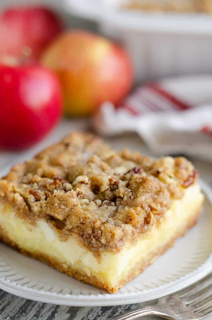 Apple Pecan Custard Dessert slice served on plate