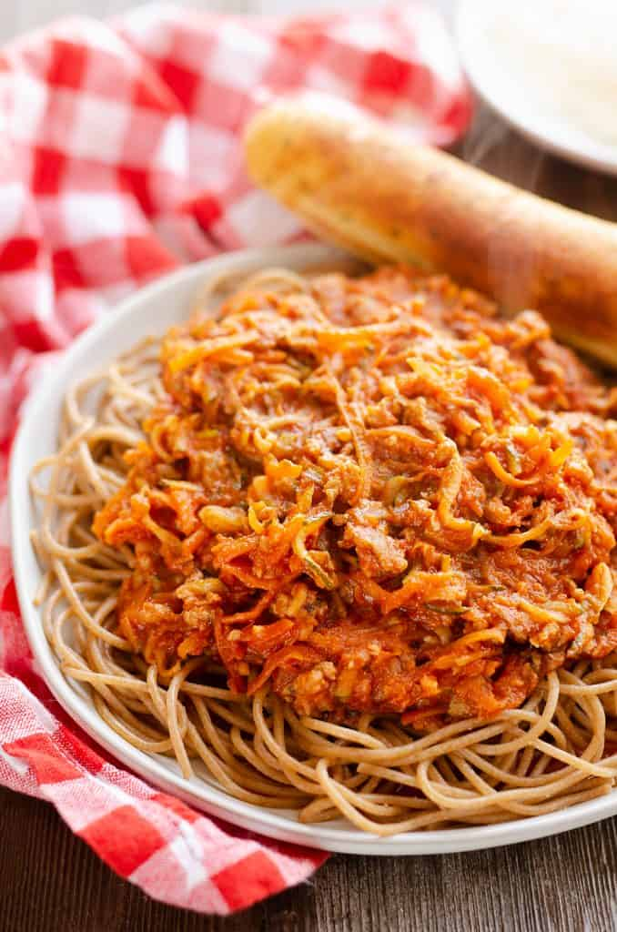 whole wheat spaghetti and vegetables recipe