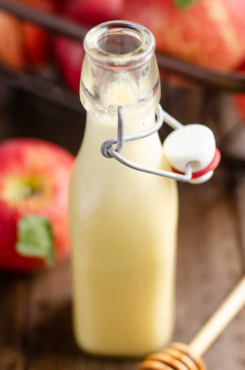 Light Apple Cider Vinaigrette in homemade bottle