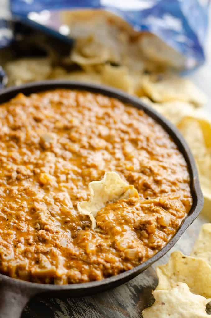 Light Queso Dip in skillet