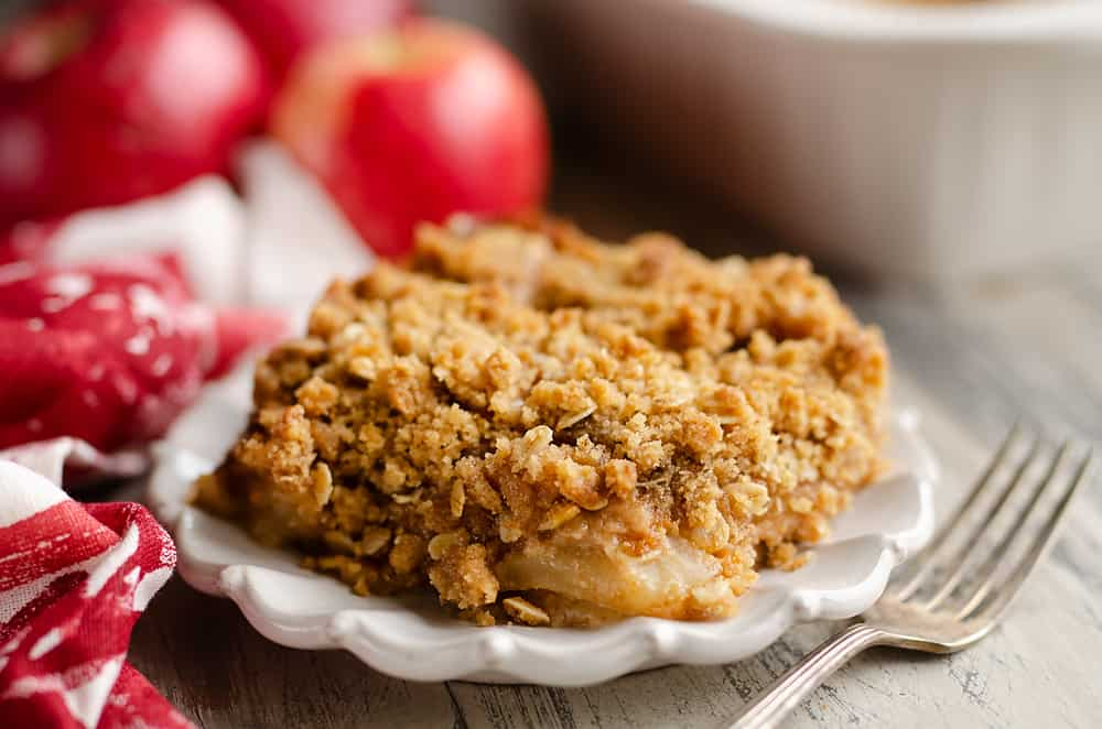 Peanut Butter Apple Crisp slice served on plate