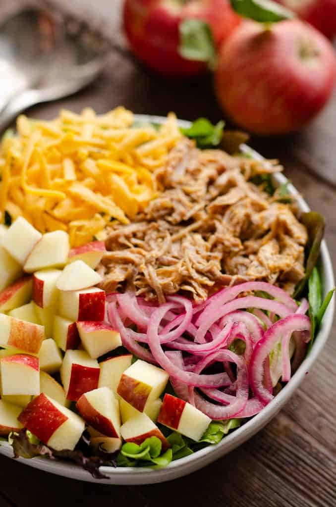 Pulled Pork Apple Salad in dinner bowl