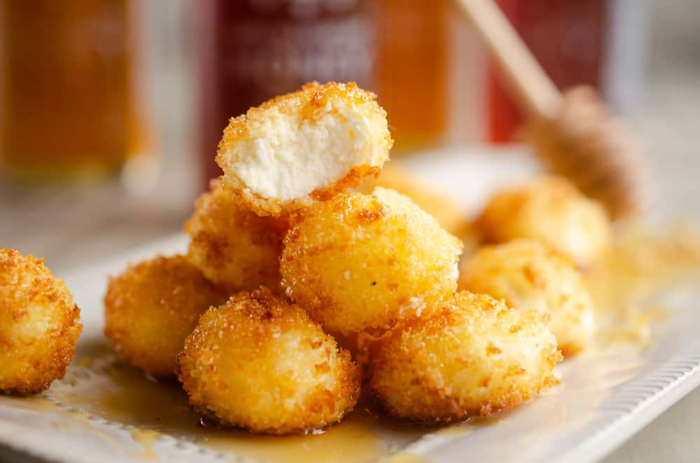 Airfryer Honey Goat Cheese Balls stack of appetizers