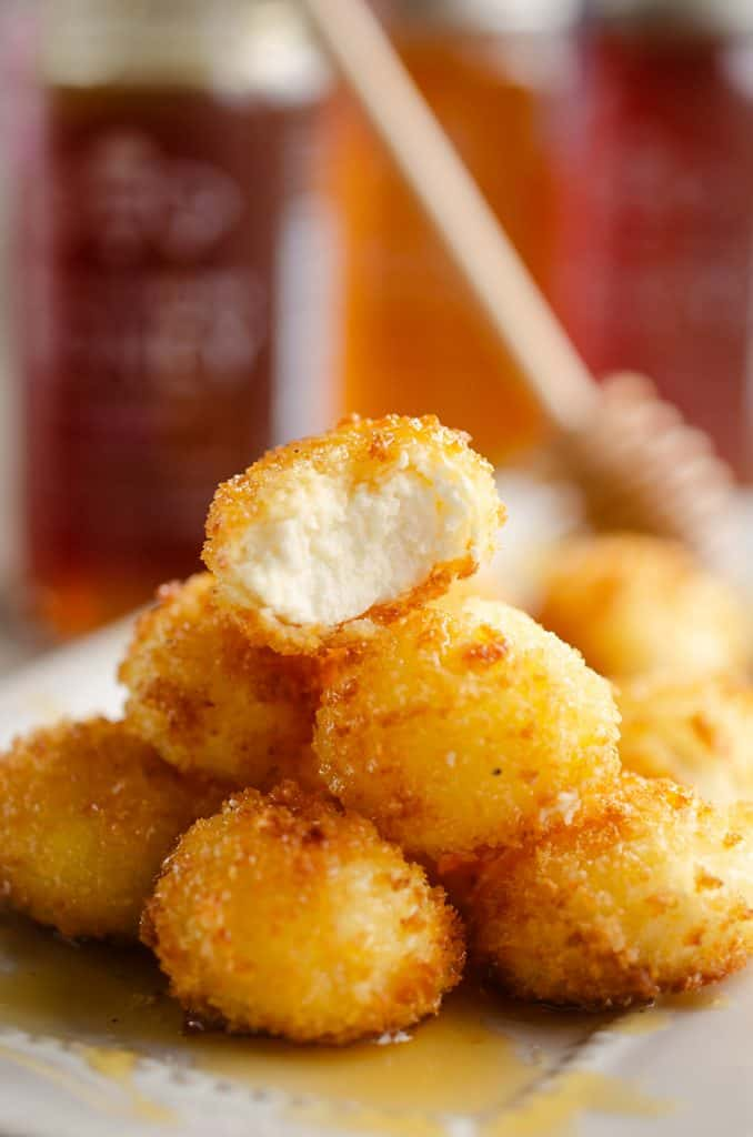 Airfryer Honey Goat Cheese Balls stack of fried bites