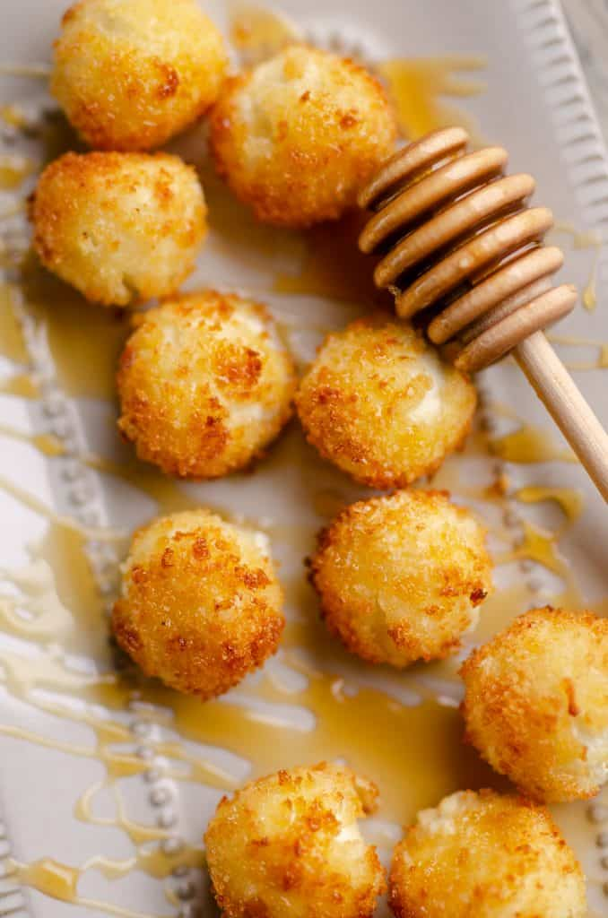 Airfryer Honey Goat Cheese Balls drizzed with honey