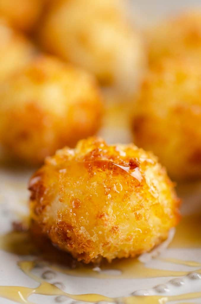 Airfryer Honey Goat Cheese Balls closeup