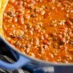 Bison Three Bean Chili in dutch oven