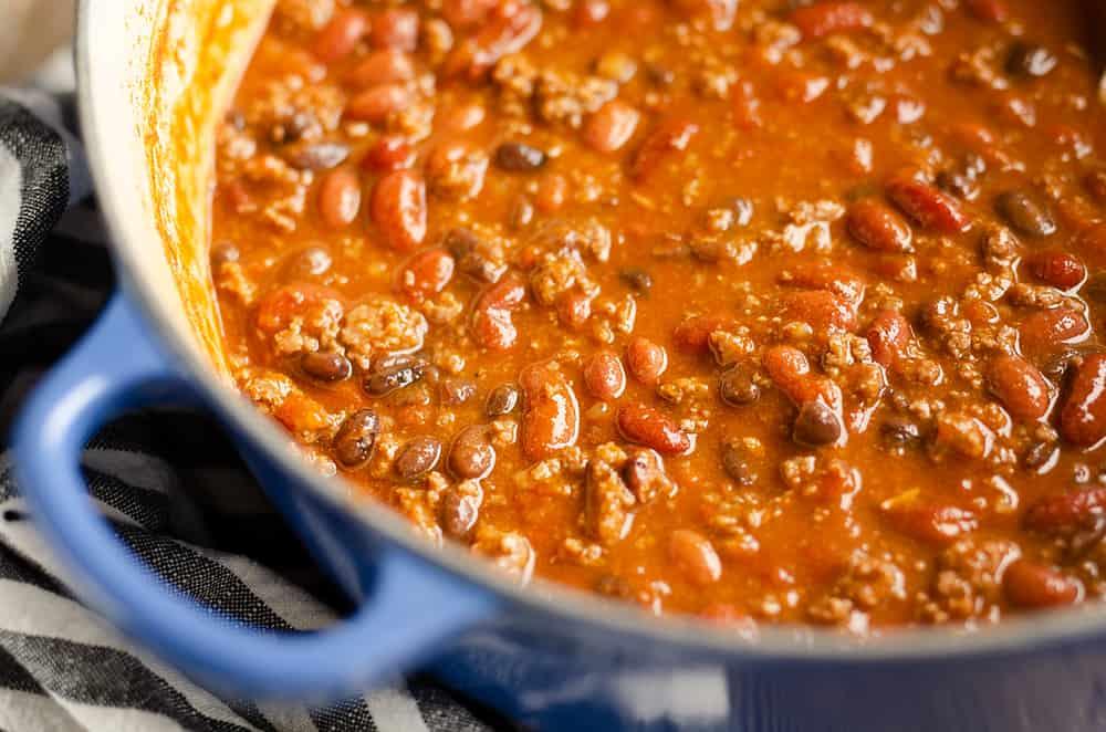 Bison Three Bean Chili in dutch oven