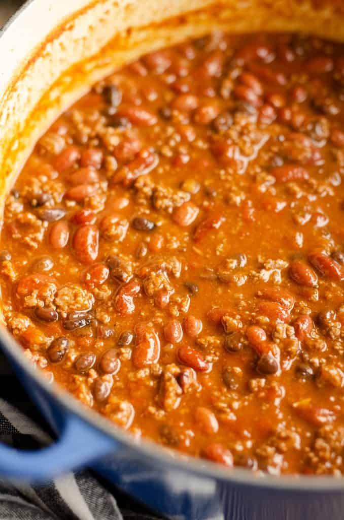 Bison Three Bean Chili in kettle