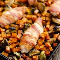 Bacon Wrapped Chicken Balsamic Squash Sheet Pan Dinner