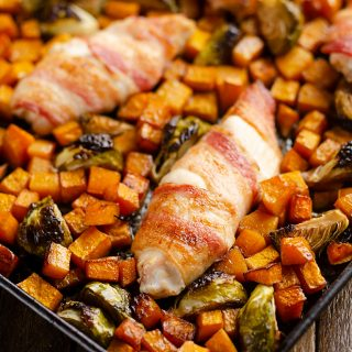 Bacon Wrapped Chicken Tenders with squash and brussels sprouts