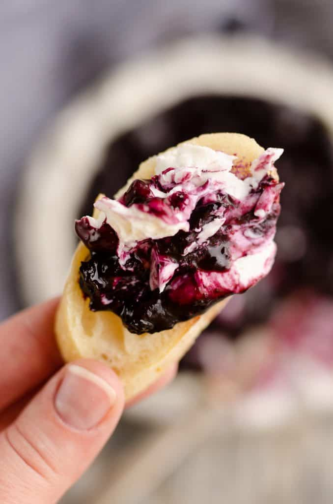 Blueberry Balsamic Goat Cheese Appetizer dip served on crusty french bread