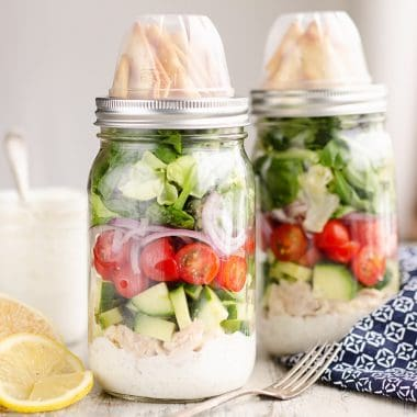 Creamy Greek Chicken Salad in a Jar with dressing