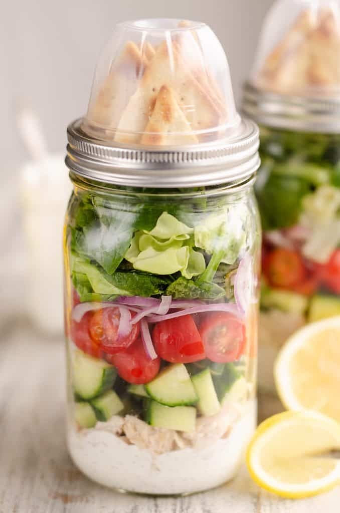 Creamy Greek Chicken Salad in a Jar meal prep