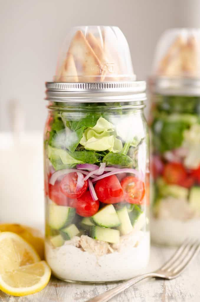 Creamy Greek Chicken Salad in a Jar recipe